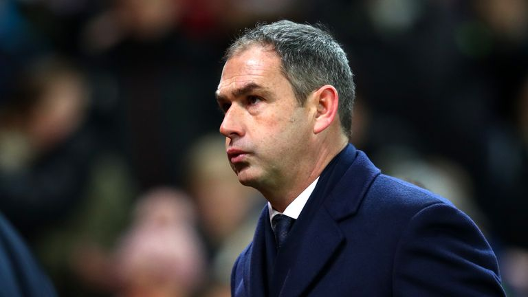 STOKE ON TRENT, ENGLAND - DECEMBER 02: Paul Clement, Manager of Swansea City look dejected after the Premier League match between Stoke City and Swansea Ci