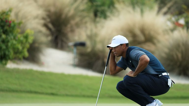 Tiger Woods struggled to the turn in 40 after four bogeys in seven holes