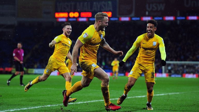 Tom Clarke celebrates scoring the winner for Preston North End against Cardiff