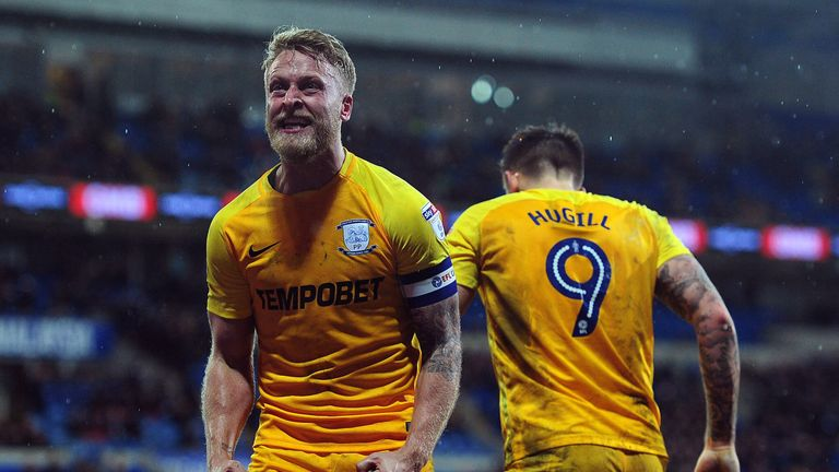 Tom Clarke celebrates scoring for Preston against Cardiff