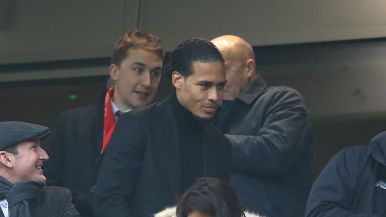Liverpool's new £75m signing Van Dijk attends their match against Leicester