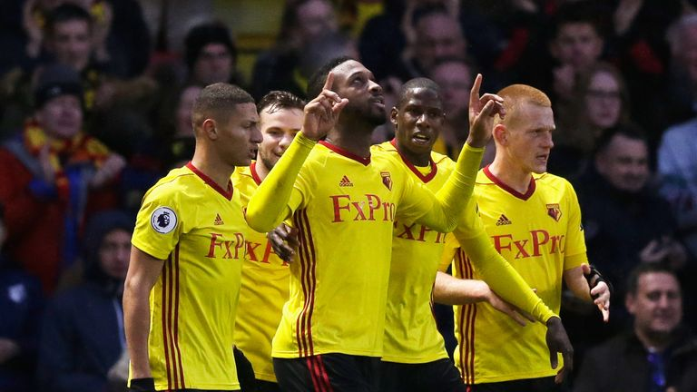 WATFORD, ENGLAND - DECEMBER 26:  Molla Wague of Watford celebrates scoring his team's opening goal during the Premier League match between Watford and Leic