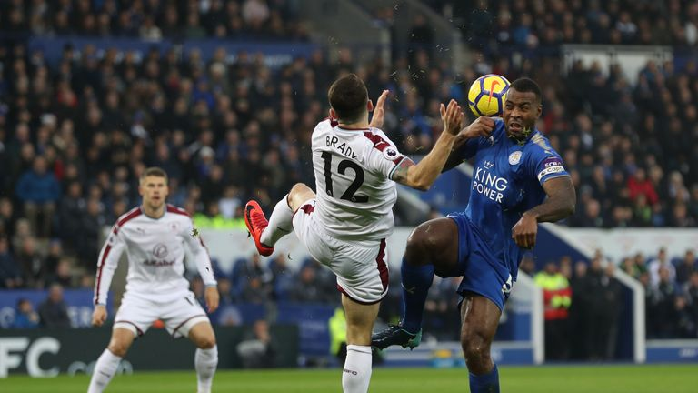 Robbie Brady (left) and Wes Morgan battle for the ball