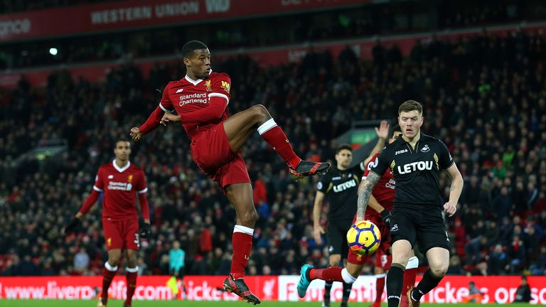 LIVERPOOL, ENGLAND - DECEMBER 26:  Georginio Wijnaldum of Liverpool shoot at goal during the Premier League match between Liverpool and Swansea City at Anf