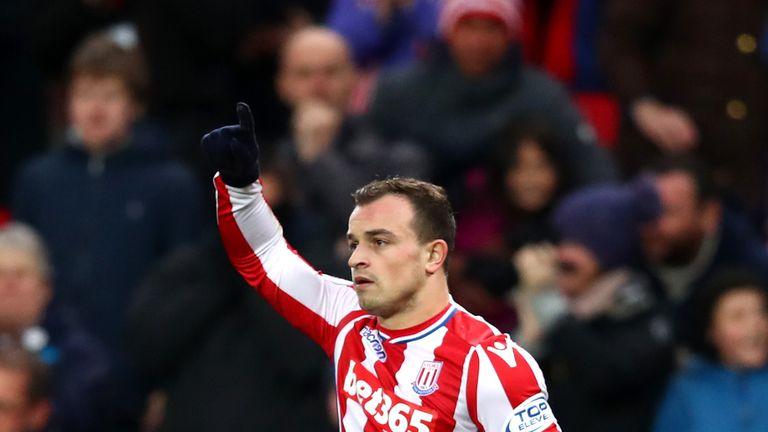 Xherdan Shaqiri celebrates scoring the equaliser for Stoke