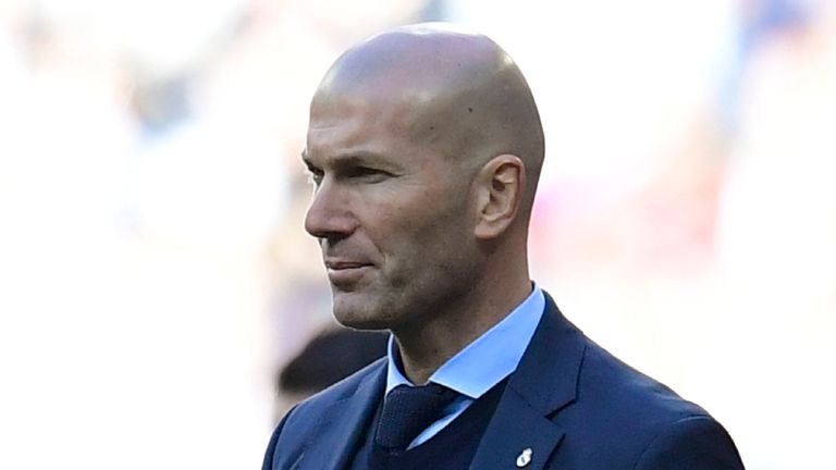 Zinedine Zidane looks on with his Real Madrid side losing at home in El Clasico