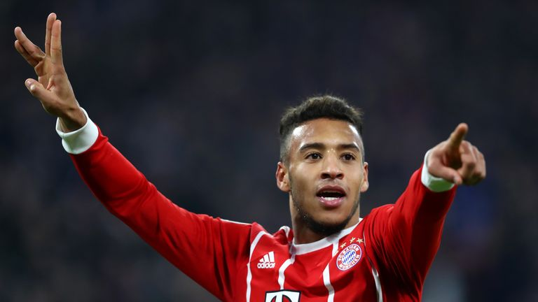 Corentin Tolisso celebrates after his second goal put Bayern 3-1 up