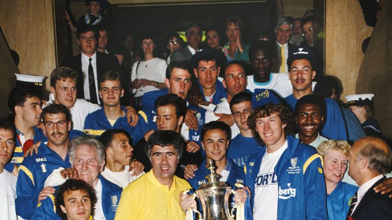 Bobby Gould and his players celebrate on the steps of the town hall in 1988
