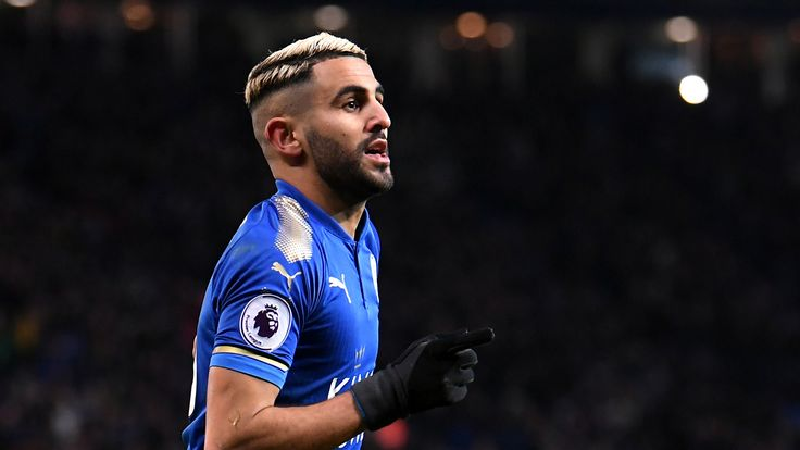 LEICESTER, ENGLAND - JANUARY 20:  Riyad Mahrez of Leicester City celebrates scoring his side's second goal during the Premier League match between Leiceste