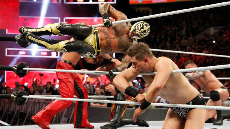 The 43-year-old was a surprise entrant in the Royal Rumble in January