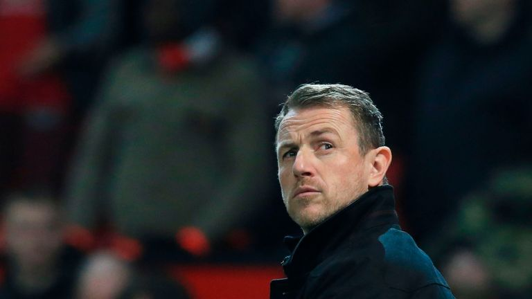 Derby County manager Gary Rowett is seen during the FA Cup third round football match between Manchester United and Derby County at Old Trafford in 2018