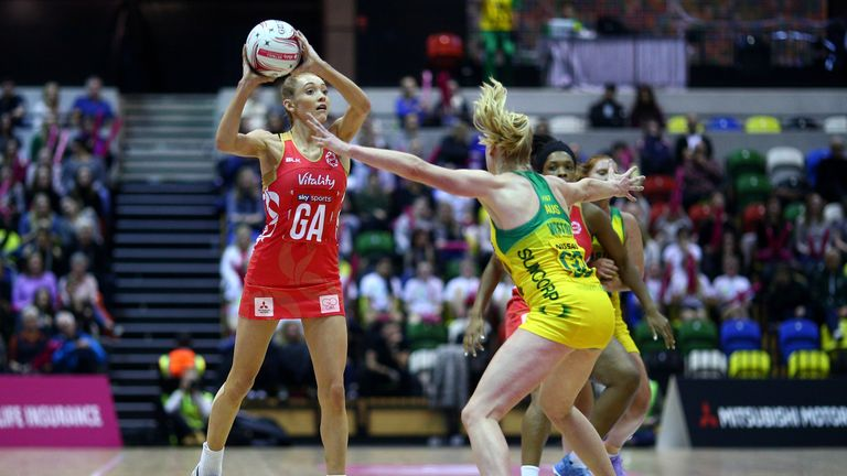 LONDON, ENGLAND - JANUARY 22: England's Helen Housby in action during the Netball Quad Series Vitality Netball International match between England and Aust