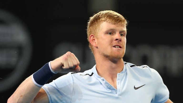 Kyle Edmund celebrates his victory over South Korea's Hyeon Chung in Brisbane
