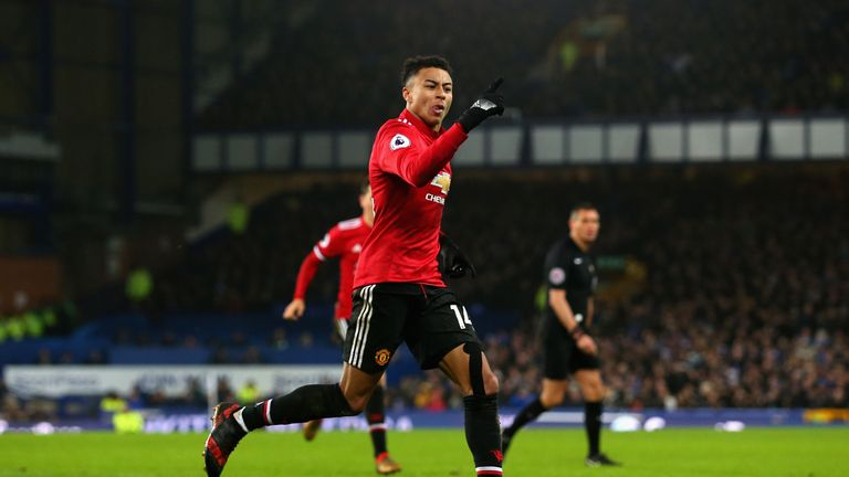 Jesse Lingard of Manchester United celebrates after he scores his side's second goal against Everton