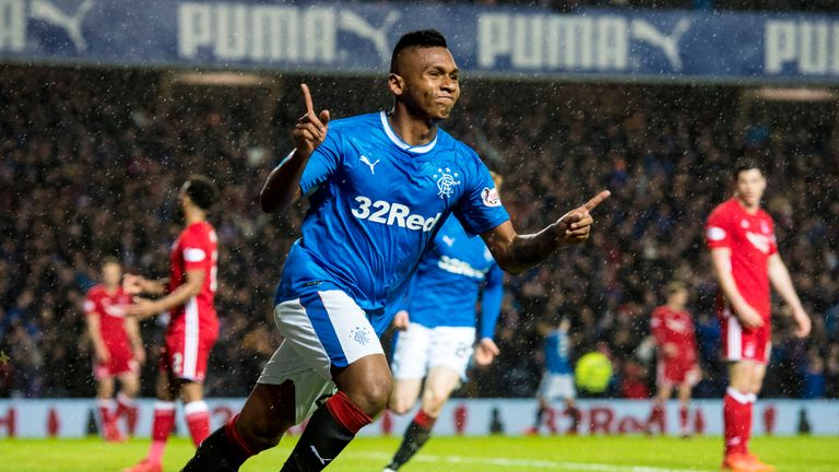 Alfredo Morelos celebrates after putting Rangers 1-0 up against Aberdeen at Ibrox
