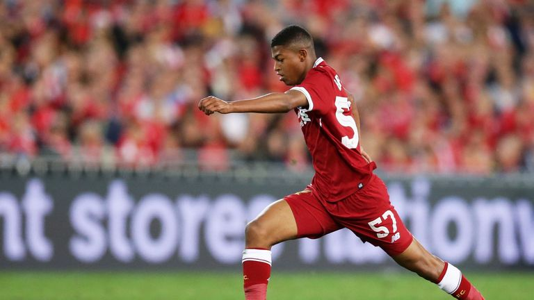Rhian Brewster playing for Liverpool while on tour in Australia