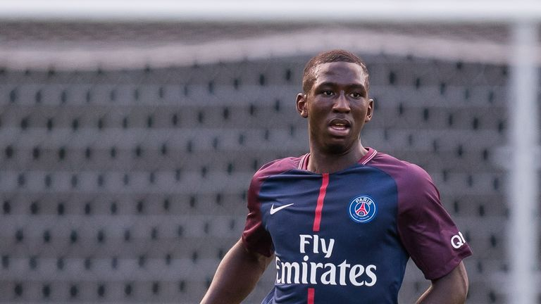 Abdourahmane Barry in action during the Otten Cup match between PSV U19 and Paris Saint-Germain U19 at De Herdgang on August 04, 2017