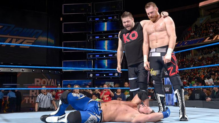AJ Styles has his hands full with Kevin Owens and Sami Zayn
