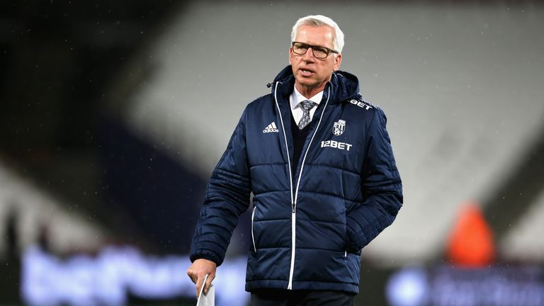 Alan Pardew, Manager of West Bromwich Albion looks on prior to the Premier League match between West Ham United and West Brom