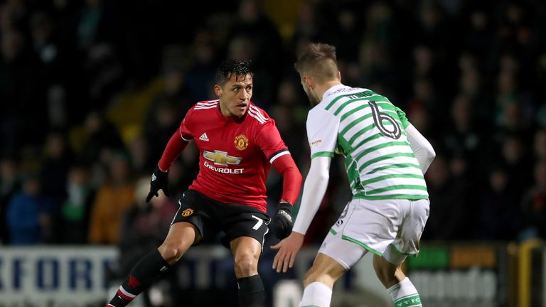 Manchester United's Alexis Sanchez (left) and Yeovil Town's Lewis Wing (right)