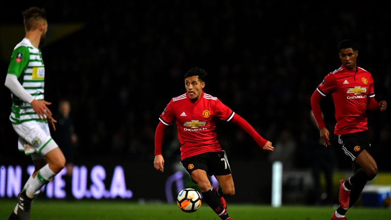 YEOVIL, ENGLAND - JANUARY 26:  Alexis Sanchez of Manchester United in action during The Emirates FA Cup Fourth Round match between Yeovil Town and Manchest