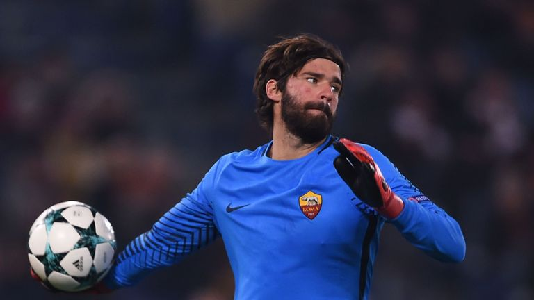 Roma's Brazilian goalkeeper Alisson throws the ball during the UEFA Champions League Group C football match AS Roma vs FK Qarabag on December 5, 2017 at th