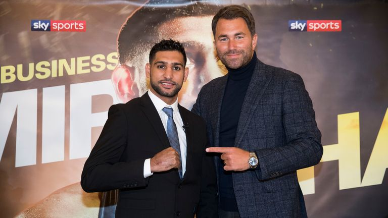 Amir Khan has a three fight deal with promoter Eddie Hearn and Matchroom Boxing