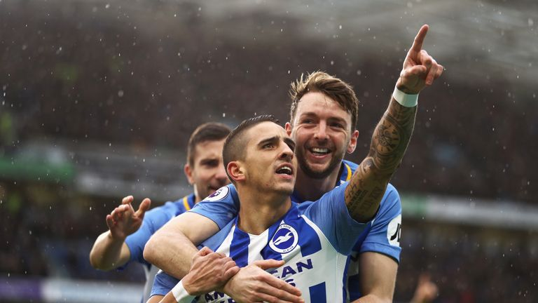 Anthony Knockaert celebrates scoring the opening goal during the Premier League match between Brighton and Bournemouth