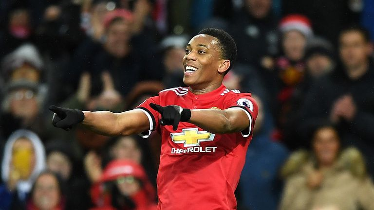 MANCHESTER, ENGLAND - JANUARY 15:  Anthony Martial of Manchester United celebrates scoring his side's second goal during the Premier League match between M