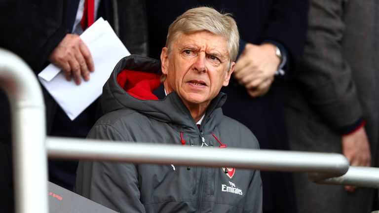 Arsene Wenger watches from the stands as Arsenal lose 2-1 to Bournemouth in the Premier League.
