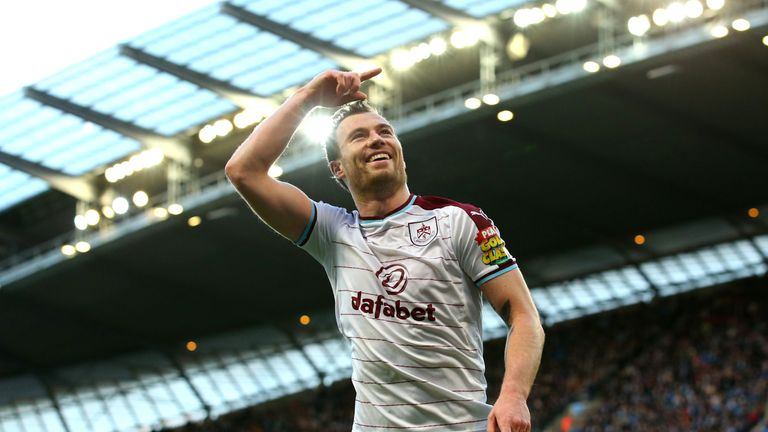 MANCHESTER, ENGLAND - JANUARY 06:  Ashley Barnes of Burnley celebrates after scoring his sides first goal during the The Emirates FA Cup Third Round match