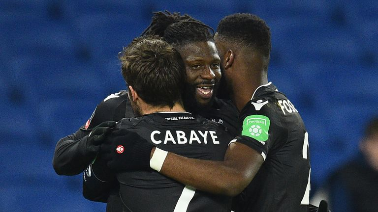 Crystal Palaces French-born Malian midfielder Bakary Sako (C) celebrates scoring his team's first goal with teammates during the English FA Cup third round
