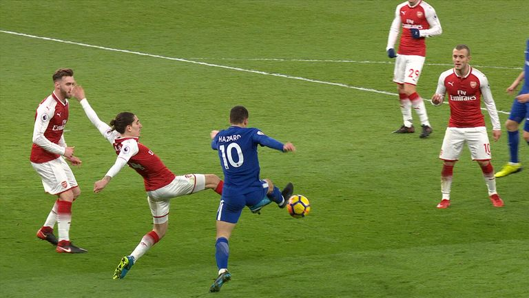 Bellerin fouls Hazard to give away a penalty