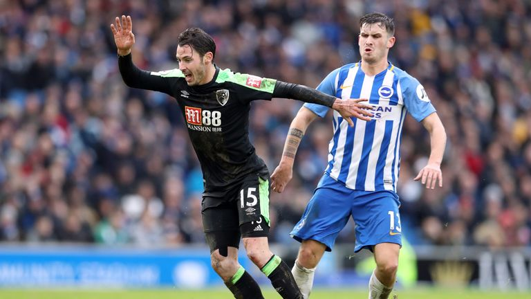 Brighton's Pascal Gross (right) and Bournemouth's Adam Smith battle for the ball
