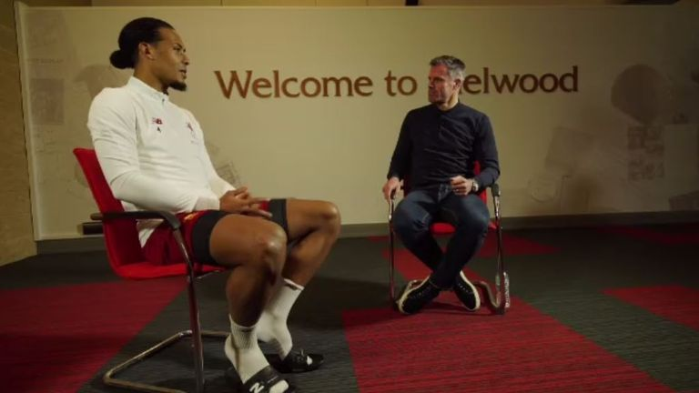 Carragher was back at Melwood to talk with a fellow centre-back about the state of modern-day defending