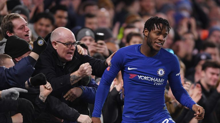 LONDON, ENGLAND - JANUARY 17:  Michy Batshuayi of Chelsea celebrates after scoing his sides first goal during The Emirates FA Cup Third Round Replay betwee