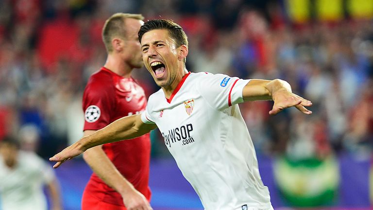 Sevilla's French defender Clement Lenglet celebrates after scoring a goal during the UEFA Champions League group E football match between Sevilla and Spart