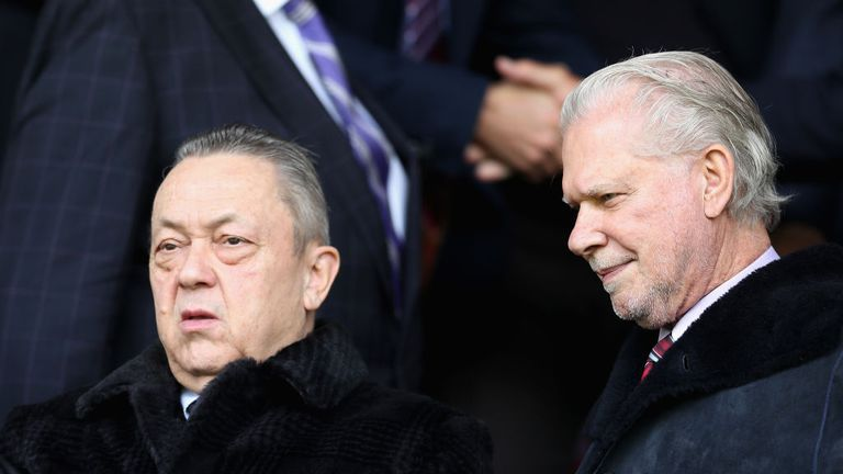 West Ham co-owners David Sullivan and David Gold were confronted by angry fans at Wigan
