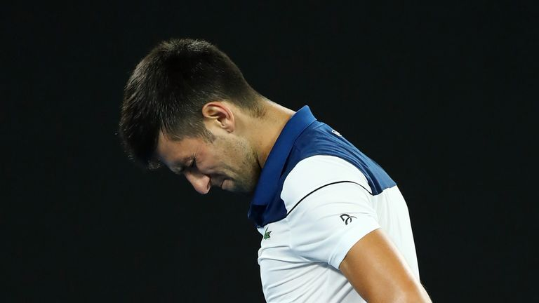 Novak Djokovic was in noticeable pain during his straight-sets defeat by Hyeon Chung