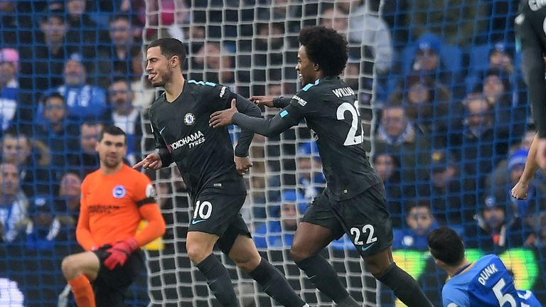 Eden Hazard celebrates with Willian after scoring the opening goal of the game