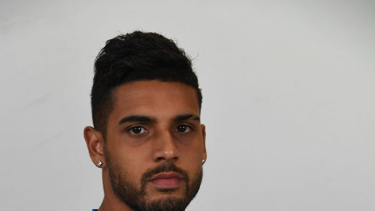 FLORENCE, ITALY - APRIL 11:  Emerson Palmieri of Italy poses during the official portrait session after the training session at the club's training ground