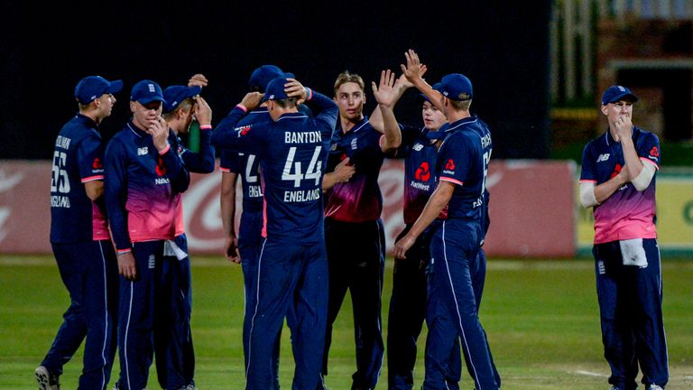 Jacks celebrates a wicket during the recent tri-series in South Africa