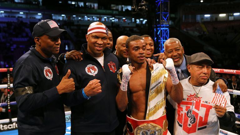 Errol Spence Jrcelebrates after beating Kell Brook during their IBF Welterweight World Championship bout at Bramall Lane, Sheffield.