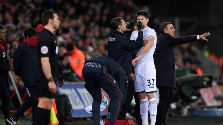 Federico Fernandez is suspected to have broken his nose while celebrating Alfie Mawson's winner