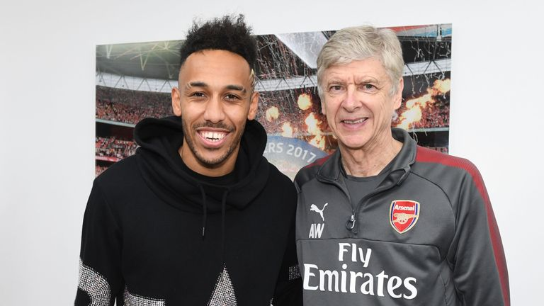 Arsenal unveil new signing Pierre-Emerick Aubameyang at London Colney
