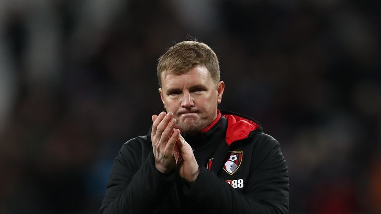 LONDON, ENGLAND - JANUARY 20:  Eddie Howe, Manager of AFC Bournemouth shows appreciation to the fans following the Premier League match between West Ham Un