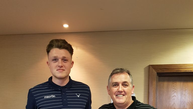 Harry Souttar (L) welcomed to Ross County by manager Owen Coyle - pic Ross County FC