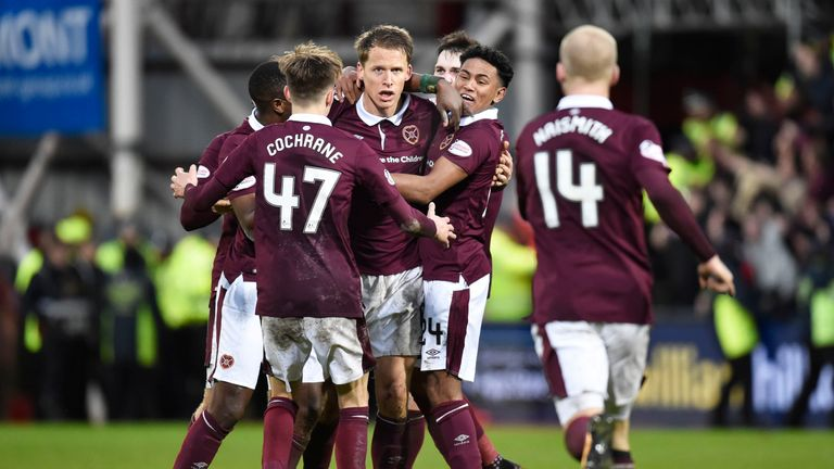 Hearts players celebrate Don Cowie's late winner at Tynecastle