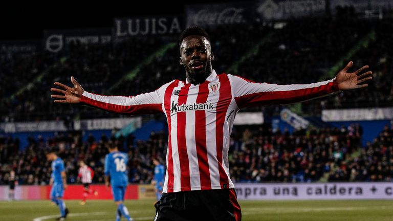 Twenty-three-year-old Inaki Williams has been one of the bright sparks of Athletic's season, scoring seven times