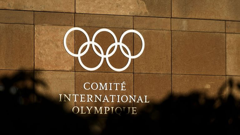 The logo of the International Olympic Committee (IOC) is pictured at its headquarters in Pully, near Lausanne, prior to an executive meeting on December 5,